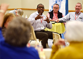 Emmanuel Ogidan, of Holy Family Parish, speaks to other participants during a discussion at Parish Stewardship Day at St. Francis of Assisi Church in Grapevine, Oct. 17. (NTC/Ben Torres)